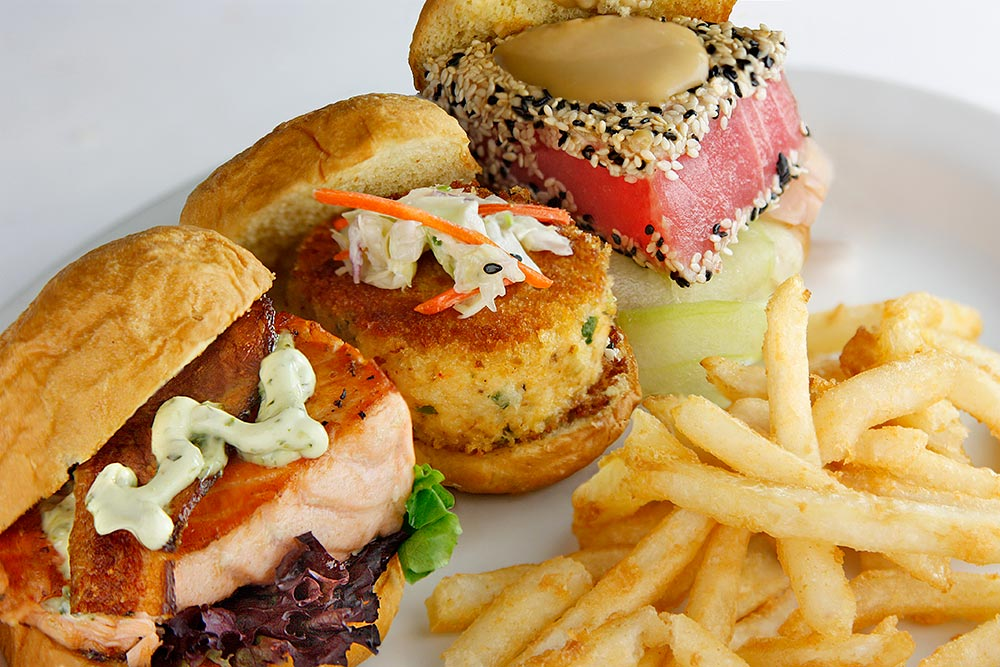 Coast Sliders   Yellowfin Tuna, Grilled Salmon With Bacon, And Crab Cake With Coleslaw