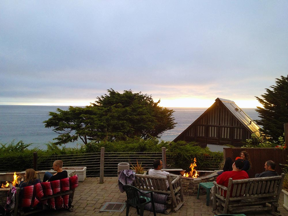 Ocean View Patio Dining With Fire Pits At Dusk