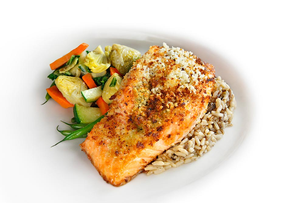 Pesto Stuffed Salmon With Wild Rice And Sautéed Vegetables
