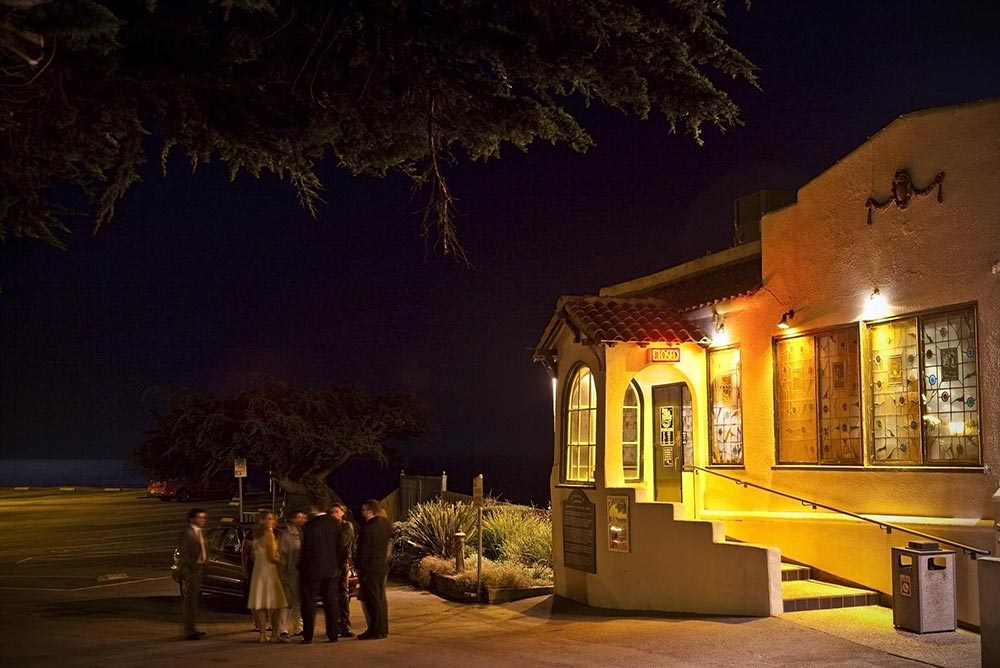 Moss Beach Distillery Lit For Evening Wedding